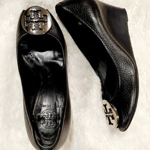 Tory Burch Black Leather Sally Peeptoe Wedge